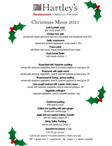 Hartleys - dalton in furness restaurants CHRISTMAS MENU